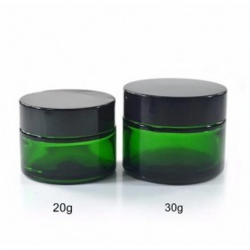 20pcs/Lot of 20g 30g & 50g Green Glass Jar Cosmetic Lip Balm Cream Jars Round Glass With Black Lid with inner PP Liners.