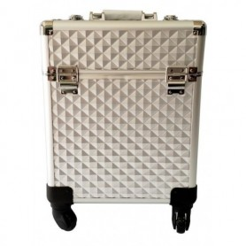 Beaute4u PROFESIONAL MAKEUP ARTIST BEAUTY STORAGE 4 WHEELS ALUMINIUM TROLLEY COSMETIC CASE - FULFILLED BY BEAUTE4U