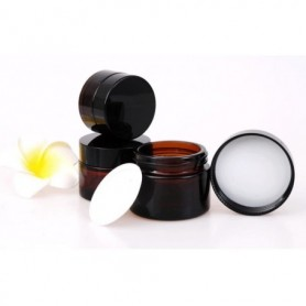 20PCS/Lot of 10g 20g 30g 50g & 100g Brown Empty Amber Glass Jar Makeup Case Glass Jar with Black Plastic Cap Lid Inner Liner Cos