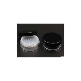 24pcs-Lot 20g Loose Powder Clear Jar With Black Lid Empty Cosmetic Containers