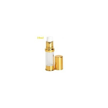 20pcs-Lot 10ml Airless Pump Clear Bottle With Gold Pump