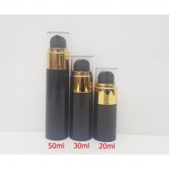 Airless Pump Black Bottle Gold Cap Cosmetic Bottle Lotion Cream Bottles Container.