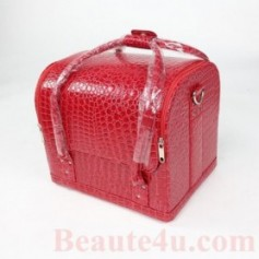 Beaute4u Roll Top Makeup Case W Straps (Crocodile Skin) Pink Color - Fulfilled By Beaute4u