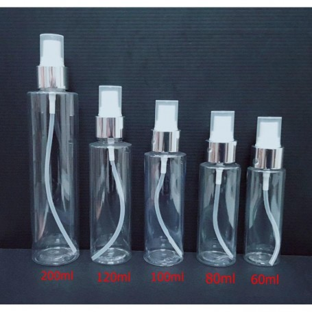 60ml 80ml 100ml 120ml 200ml Clear PET Plastic Silver Spray Bottles Empty Cosmetic Containers, Cleansing