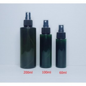 60ml 100ml 200ml Dark Green PET Plastic Bottles Black Spray Empty Cosmetic Containers, Cleansing.