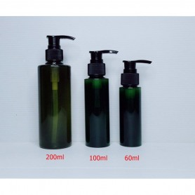 60ml 100ml 200ml Dark Green PET Plastic Bottles Black Pump Empty Cosmetic Containers, Cleansing.