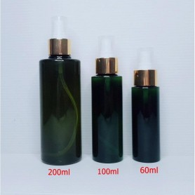 60ml 100ml 200ml Dark Green PET Plastic Bottles Gold Spray Empty Cosmetic Containers, Cleansing.