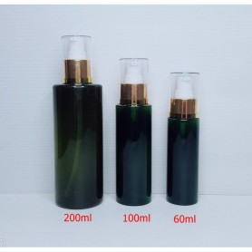 60ml 100ml 200ml Dark Green PET Plastic Bottles Gold Pump Empty Cosmetic Containers, Cleansing