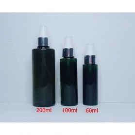 60ml 100ml 200ml Dark Green PET Plastic Bottles Silver Spray Empty Cosmetic Containers, Cleansing