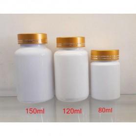20pcs/Lot 80ml 120ml 150ml White PET Thick Powder Bottles Metal Double Line Golden Cap,Capsules Bottles, Medicine Plasti