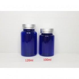 20pcs/Lot 100ml 120ml Blue PET Medicine Bottles Metal Double Line Gold/Silver Cap,Capsules Bottles.
