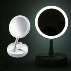 Light LED Makeup Mirror Double-sided 1X & 10X Magnifying Mirrors Foldable Table Desktop USB Battery