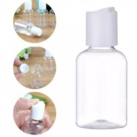 12Pcs/lot 50ml,75ml&100ml Clear PET Plastic Bottles Press On Cap White Empty Cosmetic Containers, C